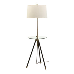 House of Troy - House of Troy Adjustable Tripod Floor Lamp Antique Brass with Table X-BA-202RT - House of Troy Adjustable Tripod Floor Lamp Antique Brass w/Table X-BA-202RT