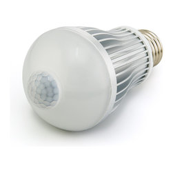 6 Watt LED A19 Globe Bulb with Motion Sensor - 6 Watt Medium Screw base A19 type Globe bulb with 12 x .5 Watt SMD LEDs. 110-240VAC operating voltage range. Light automatically powers on when motion is detected for an initial time of 30 seconds. After initial 30 seconds, if motion is still detected, on period extends to 2 min intervals. Motion detection range is within 8 meters and 120 degrees from center of PIR sensor, up to 490 lumens. Price for each.