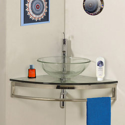 """BathAuthority LLC dba Dreamline - Modern Glass 23"""" Clear Simplicity Corner Vanity - Corner mount bathroom vanity combining space-saving design with modern appeal. An integrated towel bar and convenient glass vessel sink add to the function and beauty of this vanity."""