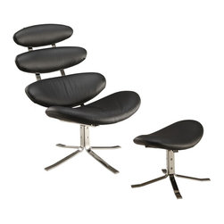 Fine Mod Imports - Crono Chair and Ottoman in Black Italian Leather - Features: