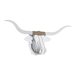 Cardboard Safari - Tex Longhorn Trophy Head, White, Large - Our Longhorn Cardboard Trophies are laser-cut for precision fit and easy assembly using slotted construction. They look great in their native brown or white and can be decorated with paint, glitter, wrapping paper or other craft materials.