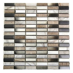 Arizona 5/8X2 Blend Mosaic - Stainless Steel and mix Stone 5/8 x 2 Blend Mosaic The liner blend results in a stunning modern effect .This tile is ideal for steel back splashes, accent walls, fireplaces and more. The tiles in this sheet are mounted on a nylon mesh which allows for an easy installation.  Also known as YGT Series