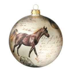 Horse & Boots Ornament Ball - Perfect for the free-spirited horse lover, this beautiful ornament ball with its unique rustic feel, is a must-have for your Western Christmas Tree.