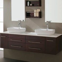 Virtu Augustine UM 3051 Double Vanity - The Augustine Double Vanity Set with Espresso finish offers contemporary style to any setting crafted with modern design. Vanity features clean lines and a distinctive design with a concealed back drain located behind the basin, leaving nothing to obscure the beauty of this artistic piece.