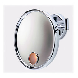 """Jerdon - Lighted 3X Magnifying Wall Mount Mirror in Chrome - Features: -Wall mount mirror. -Chrome finish. -3X Magnification. -Euro lighted. -Extends 15"""" from wall. -Double Arm -Plug in wiring Specifications: -UL/CUL listed. -Mirror Surface: 9"""" Diameter -Overall dimensions: 12"""" H x 4.75"""" W x 12"""" D. -Please note that this is a plug-in fixture and it should not be used in the shower."""