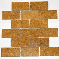 """Inca Gold Polished Mesh-Mounted Marble Mosaic Tiles 2"""" x 4"""" - 2"""" x 4"""" Inca Gold Marble Mesh-Mounted Mosaic Tile is a great way to enhance your decor with a traditional aesthetic touch. This Polished Mosaic Tile is constructed from durable, impervious Marble material, comes in a smooth, unglazed finish and is suitable for installation on floors, walls and countertops in commercial and residential spaces such as bathrooms and kitchens."""
