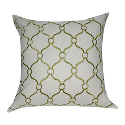 "Loom and Mill - Loom and Mill P0044-2020P 20"" x 20"" Sage Green Chainmail Decorative Pillow - This classically embroidered decorative pillow not only appeals to your obvious high class style, but to your need to be comforatable as well. Spot clean only."