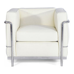 "IFN Modern - Le Corbusier LC2 Style ArmChair - Aniline Leather , Ivory - Our LC2 line reproduction was inspired by Le Corbusier��_s original design back in the 1920��_s. Charles-Edouard Jeanneret-Gris better known as Le Corbusier, introduced the LC2 line for two of his project ��_The Maison la Roche in Paris��_ and pavilion for Barbara and Henry Church. Our LC2 furniture line is true to the original design; we offer superiors quality leathers and craftsmanship. A lot of reproduction companies out there use fake leather or vinyl on their products and lower grade steel which will bend and chip over time. We offer multiple colors on all of our products, and our stainless steel is hand polished to a mirror finish.                                                                                                                                                                                                                      Overall Dimensions: 26.4"" H x 29.9""L x 27.5"" D"