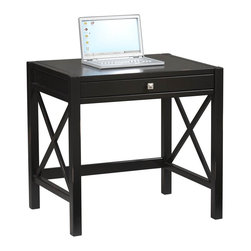 Linon Home Decor - Linon Home Decor Anna Laptop Desk Antique Black X-U-DK-10-421C11168 - Whether your style is traditional or modern the stunning Antique Black finish with red rub through Anna Lap Top Desk will blend seamlessly into your d&#233:cor.    Designed to be used as a writing desk or a lap top desk.  Featuring a pull out keyboard tray and a spacious work top, you will be organized and efficient in no time at all.