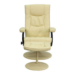 Flash Furniture - Contemporary Cream Leather Recliner and Ottoman with Leather Wrapped Base - Recline in your favorite position with this comfortable recliner and ottoman set. This set features thickly padded arms and leather wrapped bases. This set is not only perfect in the home, but makes for a great addition in the office when you need to relax for a bit. The durable leather upholstery allows for easy cleaning and regular care.