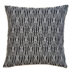 Squarefeathers - Black & White, Black Pearls Pillow - Black and White, Yin and Yang. The Black and White pillow collection will bring balance to your home decor. Made of cotton and polyester with a white popcorn trim. It has a soft and pump feataher/down insert inclosed with a zipper. Like all of our products, this pillow is handmade, made to order exclusively in our studio right here in the USA.