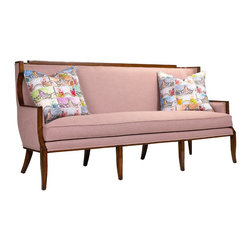 French Heritage - French Heritage Marlo Sofa - This Art Deco sofa has a chic, clean-lined silhouette with a dapper exposed wood frame and luxury down-wrapped cushion.  Sofa ships As-Shown.