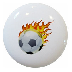 Carolina Hardware and Decor, LLC - Flaming Soccer Ball Sports Ceramic Cabinet Drawer Knob - New 1 1/2 inch ceramic cabinet, drawer, or furniture knob with mounting hardware included. Also works great in a bathroom or on bi-fold closet doors (may require longer screws).  Item can be wiped clean with a soft damp cloth.  Great addition and nice finishing touch to any room.