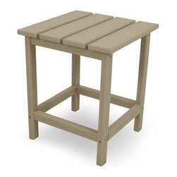 Polywood - Eco-friendly Side Table in Sand - You certainly don't need a home in the Hamptons to enjoy the classic, yet festive, Long Island Collection. Inspired by the original Northeast Adirondack and updated with a modern design, its not just fun to look at, but its also extremely comfortable to unwind in. You can't very well sit back and relax without somewhere to set your iced tea. This side table is the perfect companion to the Long Island Adirondack as well as the dining and rocking chairs. It is also designed to withstand natures elements as well as to resist stains, corrosive substances, insects, fungi, salt spray and other environmental stresses.