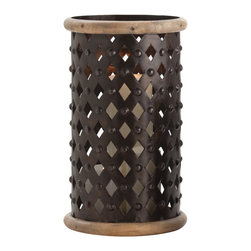 Kathy Kuo Home - Fallon Tall Modern Rustic Misson Dark Iron Lattice Hurricane Candle Holder - The bold lines of criss crossed, riveted iron soften when the light of a candle passes through, creating a romantic effect worthy of Spanish Revival, Gothic and Mission style homes.