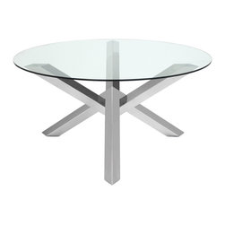Nuevo Living - Costa Dining Table - Culinary creativity is important at your place — so shouldn't your dining table be a work of art as well? It's easily achieved with this piece, a striking geometric base of polished stainless steel lofting a clear round of thick tempered glass.