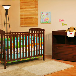 AFG Baby - AFG Baby Leila Crib & Changer Set in Espresso - The Langley Crib and Dresser Nursery Set is the perfect choice for the beginning of the baby's room. This delightful set pairs a classic baby crib with a spacious dresser  both made of beautiful solid hardwood and nontoxic finishes. The crib itself boasts a 4-level adjustable mattress support to accompany the child's needs throughout his/her growth. The Dresser includes 2 generously-sized shelves and drawers for convenient storage. Rails along the top of the dresser allow it to also function as a changing table.