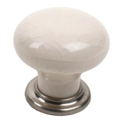 Century Hardware 27417-15CR Cabinet Knob - Nordic I Series - Cream Crackle - Sat - This cream crackle porcelain cabinet knob with satin nickel base features a traditional design and is a part of the Nordic I Series from Century Hardware. A perfect blend of craftsmanship in traditional and contemporary design to complement any decor.