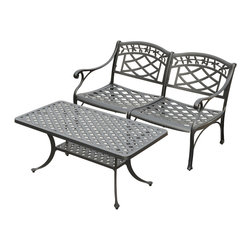 Crosley - Sedona 2 Piece Cast Aluminum Outdoor Conversation Seating Set - Dimensions: Table: 42W x 29.5D x 18.5H inches.