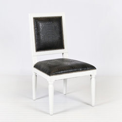 Scarsdale Black Square Dining Chair, Set of Two - White lacquer with black faux croc upholstery? Oh my gosh. I think these would jazz up a traditional dining room in the most fantastic way. Step out of the box!