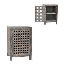 Crestview - Crestview CVFZR295 Rustic Side Cabinet - Rustic Side Cabinet Solid Wood Cabinet in Rustic Wood Finish  20 x 19 x 30