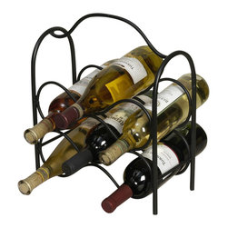 J&J Wire - Six Bottles Wine Holder - Wine not included. Heavy construction. Welded fabrication. Free-standing. Handle for easy mobility. Classic look. Made from sturdy wrought iron. Rich black powder coated finish. Made in USA. No assembly required. 12 in. W x 6 in. D x 14 in. H (4 lbs.)For a warm comfortable decor, add this classic look. Incorporated in the design is a unique handle that will allow you to take your wine easily from one setting to another. Sturdy wrought iron design is cured under heat to produce a durable rich black powder-coat finish.