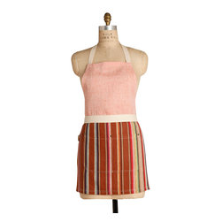 Birdkage - Salmon Mini Combo Bib Apron - So chic, why confine it to the kitchen? Colorful stripes are paired with salmon-colored linen in a pleasing A-line cut that runs a little shorter in length, but is roomy around the sides, for a flattering fit every time. The front pockets are accented with blue jean rivets, and the apron comes in a reusable cotton drawstring bag.