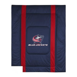 Sports Coverage - Columbus Blue Jackets NHL Bedding - Sidelines Comforter - Full - Show your team spirit with this great looking officially licensed Columbus Blue Jackets comforter which comes in a new design with sidelines. This Columbus Blue Jackets comforter is made from 100% Polyester Jersey Mesh - just like what the players wear. The fill is 100% Polyester batting for warmth and comfort. Featuring authentic Columbus Blue Jackets team colors, each comforter has the authentic Jackets logo screen printed in the center. Soft but durable. Machine washable in cold water. Tumble dry in low heat. Each comforter has the team logo centered on solid background in team colors. 5.5 oz. Bonded polyester batts. Looks and feels like a real jersey!