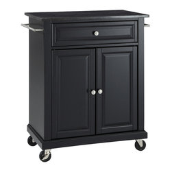 Crosley - Solid Black Granite Top Portable Kitchen Cart/Island in Black Finish - Constructed of solid hardwood and wood veneers, this kitchen island is designed for longevity. The beautiful raised panel doors and drawer front provide the ultimate in style to dress up your kitchen. The deep drawer are great for anything from utensils to storage containers. Behind the two doors, you will find an adjustable shelf and an abundance of storage space for things that you prefer to be out of sight. Style, function, and quality make this kitchen island a wise addition to your home.