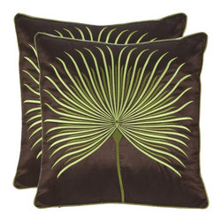 Safavieh - Safavieh PIL818A-1818-SET2 Leste Verte Pillow - An exotic tropical leaf fans across this brown satin polyester pillow, each vein appliquéd with embroidery. Coordinating green satin piping frames this stunning naturalist illustration.