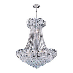 """Worldwide Lighting - Empire 15 Light Chrome Finish and Clear Crystal Chandelier 26"""" D x 32"""" H Large - This stunning 15-light crystal chandelier only uses the best quality material and workmanship ensuring a beautiful heirloom quality piece. Featuring a radiant chrome finish and finely cut premium grade crystals with a lead content of 30%, this elegant chandelier will give any room sparkle and glamour. Worldwide Lighting Corporation is a privately owned manufacturer of high quality crystal chandeliers, pendants, surface mounts, sconces and custom decorative lighting products for the residential, hospitality and commercial building markets. Our high quality crystals meet all standards of perfection, possessing lead oxide of 30% that is above industry standards and can be seen in prestigious homes, hotels, restaurants, casinos, and churches across the country. Our mission is to enhance your lighting needs with exceptional quality fixtures at a reasonable price."""