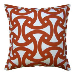 Santorini Persimmon Pillow - The unique and fresh geometic motif on this plush throw pillow allows it to work in both a contemporary and a traditional home (and everything in between). We love how the rich persimmon color highlights the intricate pattern. Create your own custom look by mixing and matching this with other pillows in the collection!