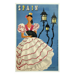 Custom Photo Factory - Spain - Vintage Travel Poster Canvas Wall Art - Spain - Vintage Travel Poster  Size: 20 Inches x 30 Inches . Ready to Hang on 1.5 Inch Thick Wooden Frame. 30 Day Money Back Guarantee. Made in America-Los Angeles, CA. High Quality, Archival Museum Grade Canvas. Will last 150 Plus Years Without Fading. High quality canvas art print using archival inks and museum grade canvas. Archival quality canvas print will last over 150 years without fading. Canvas reproduction comes in different sizes. Gallery-wrapped style: the entire print is wrapped around 1.5 inch thick wooden frame. We use the highest quality pine wood available. By purchasing this canvas art photo, you agree it's for personal use only and it's not for republication, re-transmission, reproduction or other use.