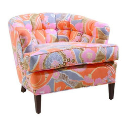 Used Vintage Revamped Floral Lena Accent Chair - This chair is a sherbet-y delight! This piece is an amazing vintage item recovered in retro fabric for a sitting experience that is all new! Stitched, tufted back rest covered in a vintage sherbet colored fabric: pink, orange, yellow, gray. Seat cover is removable.    Seat height: 18.5 inches