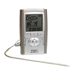 Maverick - Roast Alert Oven Thermometer - Maverick Roast Alert Oven Roasting Thermometer allows you to never over or undercook dinner again with this sensitive oven thermometer. It comes with presets for all types of meat, 20-hour count down/up timer, 100cm heat resistant wire probe, Pre-done alarm setting, Overcooked alarm setting, Updates instant readings every 5 seconds, Slim line case with modern design, Wall mount or stand, 1 AAA battery included.