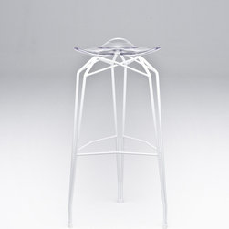 Diamond Barstool by Kubikoff - Also available with a chrome or black base and four seat options,  this Diamond Barstool in white with a clear seat would be stunning at the breakfast bar in an all white modern living space.