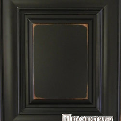 Distressed Black Sample Door - This sample will show color, glazing and finish details. It is returnable for a full refund less shipping charges.