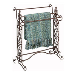 Home Decorators Collection - Elizabeth Quilt/Towel Rack - The ornate details of the Elizabeth Quilt Rack make it a beautiful display piece. Turn your family heirloom into a showpiece or use this stand as an elegant towel rack.The wrought iron construction of this rack features a rust finish for lasting beauty. Buy yours today.