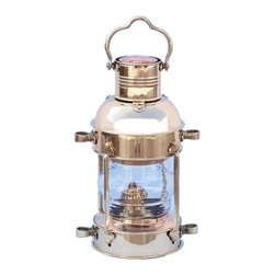 "Handcrafted Model Ships - Solid Brass Anchor Oil Lantern 12"" - Brass Lantern - This Solid Brass Anchor Oil Lamp 12"" is an authentic marine ship lamp. Handcrafted from solid brass to create a realistic lookout lamp as used on historical wooden tall ships, this ship lantern is true to the original design of period lamps. Our boat lantern is fully functional and simply needs oil to omit light. The oil burn tank and wick are both located at the bottom of the lamp."