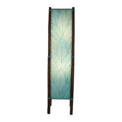 Asian Eangee Fortune Sea Blue Cocoa Leaves Tower Floor Lamp