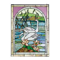 """Meyda - 22""""W X 30""""H Swans Stained Glass Window - Graceful pearl white swans float on placid azurewaters in this charming arched pond and landscapescene. This window is handcrafted utilizing the copper foil construction process and 254 pieces ofstained art glass encased in a solid brass frame.mounting bracket and jack chain included."""