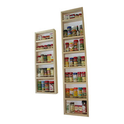 WG Wood Products - Solid Pine Wood Wall and Door Spice Racks (Set of 2) - Eliminate clutter in your cupboards with this convenient wooden wall-mount spice rack. Crafted from solid pine, this set of two racks features multiple shelves for small bottles and boxes. Each rack can be mounted on a door or a wall for easy access.
