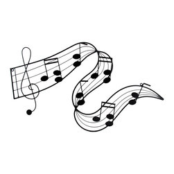 Metal Music Notes Wall Plaque - This awesome piece of metal art will look wonderful on any wall! It is made of an enamel coated metal and features a swirly, twisted musical score with a treble clef and music notes. It measures 27 inches long, 14 1/2 inches tall and mounts horizontally to the wall with 2 screws (not included.) It makes a great gift for music lovers.