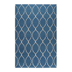 Surya - Surya Fallon Hand Woven Blue Wool Rug, 9' x 13' - From delicate lattice patterns to boldly colored chevron patterns the Fallon Collection makes a statement in flat weave; from creator Jill Rosenwald known for her beautifully colored, hand-made ceramics. The Fallon Collection's patterns and the hand woven flat weave construction beautifully combine to highlight its simplicity and sophistication. Fresh and fun patterned rugs with a strong designer color palettes. Imported.Material: 100% WoolCare Instructions: Blot Stains