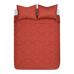 Blissliving Home - Nirvana Coverlet Set (3-Piece), Full/Queen - Set the mood for romance in your bedroom with this ravishing red-on-red pattern. Woven of imported 300 thread count cotton sateen for an extra-luxe feel, the set includes a duvet cover and matching button-closing shams.