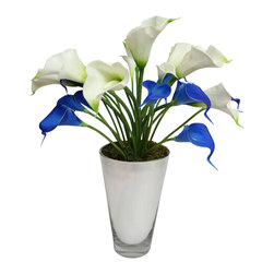 """The Firefly Garden - Buttercup - Illuminated Floral Design, Blue and White, Mirrored Glass Vase - Buttercup is inspired by the classic 60's tune """"Build Me Up, Buttercup. This simple yet classic contemporary arrangement features illuminated and real touch calla lilies and tulips."""