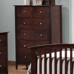 Coaster - Tia Chest - The casual, traditional style of the Tia collection brings warmth and comfort into your bedroom. This collection features clean lines, with gentle curves, tapered feet, and simple knobs. Spacious drawes make these pieces functional as well. Crafted from select hardwoods and veneers. Finished in cappuccino.