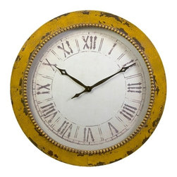 IMAX CORPORATION - Bryony Yellow Wall Clock - In a Naples yellow shade, the Bryony wall clock features classic roman numerals with hammered metal texture. Find home furnishings, decor, and accessories from Posh Urban Furnishings. Beautiful, stylish furniture and decor that will brighten your home instantly. Shop modern, traditional, vintage, and world designs.