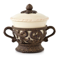 GG Collection - Covered Soup Bowl - CREAM - GG CollectionCovered Soup BowlDesigner About GG Collection:GG Collection is the brainchild of two friends Dixie Harrigan and Leigh Anne Baysinger who wanted to make accessories for those who prefer classical decor to modern influences. Together they started a movement for the revival of the classic European style beginning with Tuscan-inspired canisters and spice jars then expanding to include dinnerware and other decor. Their creative combination of metal stoneware and mouth-blown glass achieves the relaxed European-country style they were striving to create.