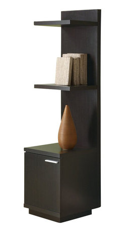 Monarch Specialties - Monarch Specialties Audio and Display Tower in Cappuccino - This sleek looking piece has clean lines, in a rich dark cappuccino finish that will complement your home decor. A storage cabinet below three shelves keep items organized and are ideal for books and your favorite decorative accent items. What's included: Media Unit / TV Stand (1).